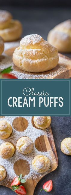 pate a choux - Classic Cream Puffs - These classic little treats are so easy and fun to make, and are the perfect vessel for a homemade vanilla whipped cream! 13 Desserts, Delicious Desserts, Dessert Recipes, Yummy Food, Dessert Ideas, Bite Size Desserts, Easy Fun Desserts, Cake Recipes, Fun Baking Recipes