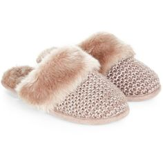 Monsoon Elizabeth Knit & Fur Slipper (€23) ❤ liked on Polyvore featuring shoes and slippers