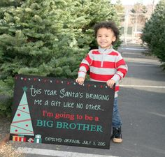 Pin for Later: The Cutest Holiday Pregnancy Announcement Ideas We've Seen Personalized Christmas Big Brother Sign Christmas big brother sign ($7)