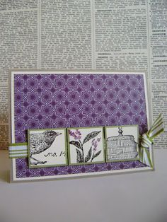 bird, cage, flower stamps with ribbon