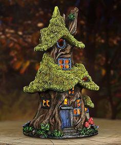 Loving this Thatch-Roof Tree Solar Fairy House Garden Décor on #zulily! #zulilyfinds