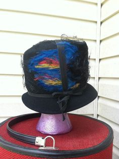 1950's vintge blue feather hat with by FeathercatEmporium on Etsy