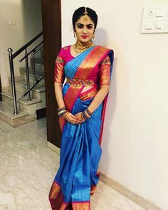 Our client in an elegant peacock design blouse Wedding Saree Blouse Designs, Half Saree Designs, Pattu Saree Blouse Designs, Blouse Designs Silk, Blouse Patterns, Saree With Belt, Saree Belt, Stylish Blouse Design, Blouse Models