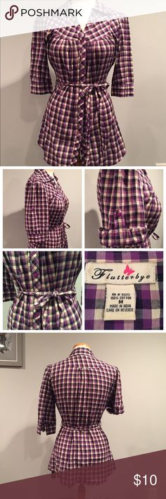 Button Up Plaid Blouse with Tie Belt Purple plaid button up blouse with belted waist. Very shapely and fitted well. Sleeve can be worn down or rolled up with button. Great condition, only worn a few times. Medium. Flutterbye Tops Button Down Shirts