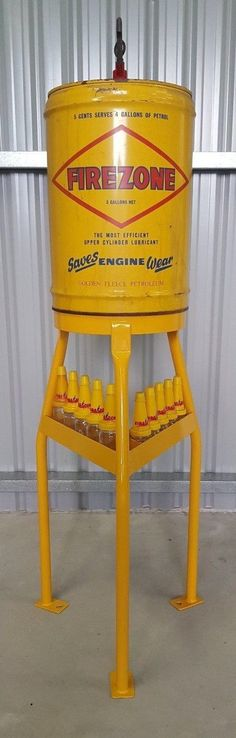 Golden Fleece service station Firezone upper cylinder lubricant oil stand Vintage Oil Cans, Soda Machines, Old Gas Stations, Gas Pumps, Harley, Oil And Gas, Globes, Tins, Kendall