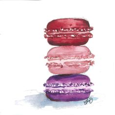 French Macaron Watercolor multiple sizes available by SweetnSandy