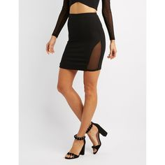 Charlotte Russe Mesh-Inset Pencil Skirt ($22) ❤ liked on Polyvore featuring skirts, black, body con skirt, bodycon pencil skirt, stretch skirt, stretchy pencil skirt and charlotte russe