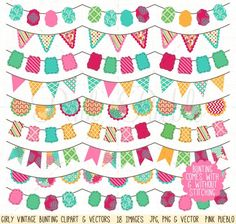Girly Bunting Clip Art & Vectors Graphics Our Girly Vintage Bunting Clipart set includes 18 PNG files with transparent backgrounds, 18 JPG fil by PinkPueblo