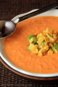 Spicy Roasted Corn Soup with Bell Pepper and Tomatoes