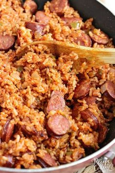 One-Pot Sausage and Red Rice - An easy creole recipe with only a few ingredients. It's a delicious twist on Jambalaya! One-Pot Sausage and Red Rice - An easy creole recipe with only a few ingredients. It's a delicious twist on Jambalaya! Sausage Recipes For Dinner, Smoked Sausage Recipes, Instant Pot Dinner Recipes, Pork Recipes, Cooking Recipes, Cajun Recipes, Red Rice And Sausage Recipe, Kielbasa Recipes Rice, Cheap Recipes