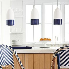 Nautical Chic Kitchen Island (Buoy Pendant Lights and bar stools from Serena & Lily!)
