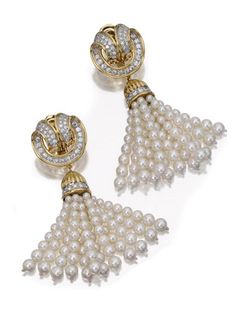 PAIR OF CULTURED PEARL AND DIAMOND PENDANT-EARCLIPS, TIFFANY & CO.