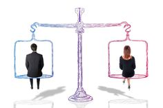 This image strongly illustrates gender equality. Gender equality is when both male and female receive equal treatment, regardless of gender. This image displays this by placing a man and woman on both sides of a level at equal heights. World Bank Report, Psa Peugeot Citroen, Executive Woman, Gender Pay Gap, Gender Studies, Racial Equality, World Religions, Men And Women, Workplace