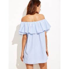 Blue Striped Off The Shoulder Ruffle Dress ❤ liked on Polyvore featuring dresses, stripe dress, ruffled dresses, flutter-sleeve dress, blue dress and blue ruffle dress