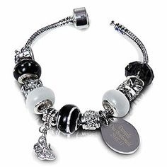 Personalized Black Charm Bracelet