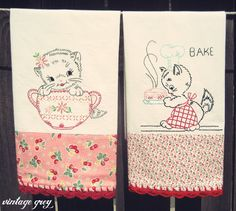 vintage grey: new items are here! My new vintage inspired embroidered tea towels!