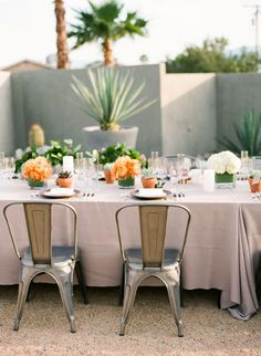 Hotel Lautner in Palm Springs wedding reception tablescape | Photo by Birds of a Feather