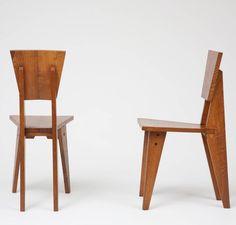 René-Jean Caillette; Wooden Side Chairs, c1950.