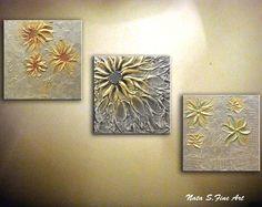 Comisión de pintura - hecho a la medida: Esta pieza se hace a pedido y se mira muy similar a los cuadros anteriormente, ya que cada cuadro es hecho a mano no se verá exactamente el mismo. Cada pintura que creo es uno de una clase. Las imágenes de una obra de arte acabada será enviado antes del envío.  Obra de arte se hará en sobre 3-5 bus.days    Pintura abstracta flor metálica original. Cuchillo de paleta. Moderno con textura pintura de plata, oro.  tamaño: 12 x 12 x 1,5   MEDIO: Acrílico…