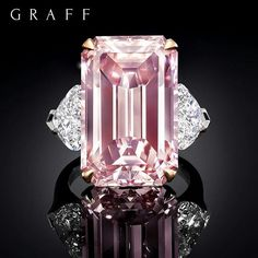 Pure Perfection: Taking the worlds stage, the most beautiful, pure, 16.88 carat pink diamond.  Its flawless emerald cut facets mesmerise and captivate with intense perfect beauty.  A truly breathtaking gift from Mother Nature, and Graff. #GraffDiamonds #PinkDiamond #EmeraldCut #DiamondRing #ColouredDiamonds #FineJewellery