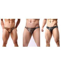 681c5367bd HNJZX pour Homme Imprimé léopard Bikini Slip Taille Basse pour Homme String  sous-vêtements Taille Basse Dos Nageur. 3-Pack m