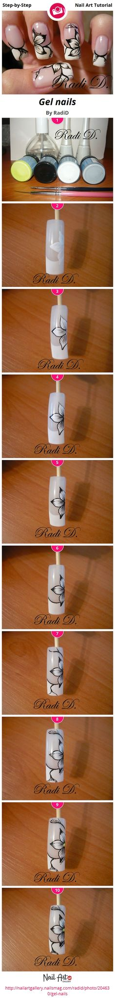 DIY Ideas Nails Art : Gel nails by RadiD Nail Art Gallery Step-by-Step Tutorials nailartgallery. Floral Nail Art, Nail Art Diy, Diy Nails, Fancy Nails, Trendy Nails, Nagel Hacks, Flower Nails, Nail Art Galleries, Creative Nails