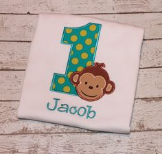 Boy's Monkey Birthday Shirt Personlize with by thesimplyadorable, $24.00
