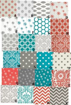 Custom Crib Bedding 4 Piece Set - Premier Prints Coral Turquoise Grey. $280.00, via Etsy.