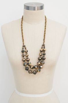 Black and Gold Rustic Rotunda Necklace by 31 BITS