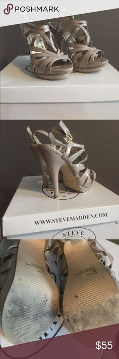 Steve Madden size 6 strappy nude heels Steve Madden size 6 strappy nude heels. Worn to prom only once. Platform bottom. Comes with box! Non smoking. Heel is 5 inches! Steve Madden Shoes Heels