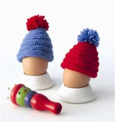 egg cosies from from a knitting spool, adorable!