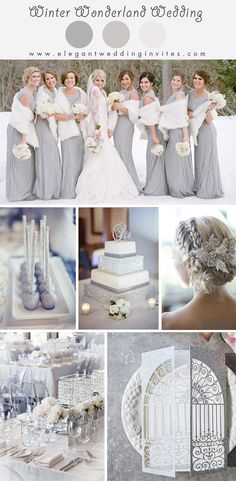 classic silver wonderland winter wedding color ideas Silver wedding inspiration for the alternative, creative bride. Wedding Beauty, Dream Wedding, Bling Wedding, Wedding Flowers, Wedding Dresses, Trendy Wedding, Luxury Wedding, Rustic Wedding, Bridesmaid Dresses
