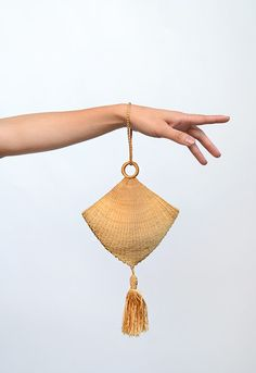 Tassel Purse: ca. 1920's, Canadian, silk thread tassel, cloth lined.