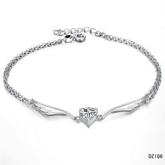Silver Anklet, wings, diamond