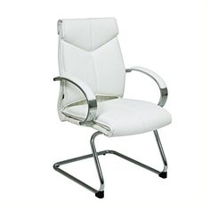 Office Star Deluxe Mid Back White Leather Visitors Chair with Chrome Finish Base and Padded Polished Aluminum Arms * Click image to review more details.Note:It is affiliate link to Amazon.