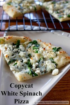 Fresh spinach, feta and mozzarella cheese on a roasted garlic oil-brushed crust. A homemade version of CPK White Spinach Pizza.