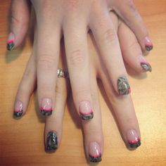Camo French tip nails Only with blaze orange instead of pink