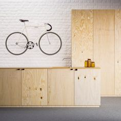 This simple rack made from just six components by Karl Mikael Ling is designed to simultaneously store and display a bicycle in a small apartment.