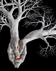 "JP Morrison ""Fire"" colored pencil, graphite and gouache on board. - JP Morrison ""Fire"" colored pencil, graphite and gouache on board. Arte Obscura, Unusual Art, Illusion Art, Heart Art, Surreal Art, Tree Art, Sculpture Art, Amazing Art, Fantasy Art"