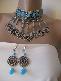 Authentic ethnic necklaceearringturquoise by galladesign on Etsy, $30.00