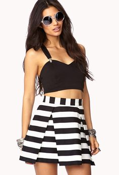 $17, White and Black Horizontal Striped Skater Skirt: Forever 21 Daring Stripe Pleated Skirt. Sold by Forever 21. Click for more info: https://lookastic.com/women/shop_items/10896/redirect