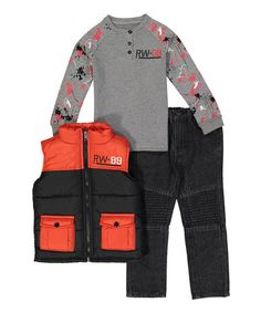 Another great find on #zulily! Red & Black Puffer Vest Set - Infant, Toddler & Boys #zulilyfinds