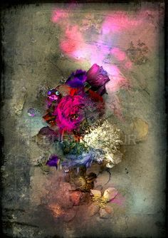 FleurBonheur - Still life with Purple Cloud-  digital collage with original photos and dried flowers.