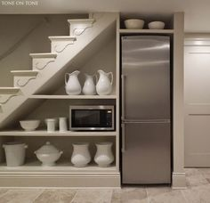 Image result for converting hallway fridge under stairs