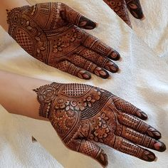 Salam♡ For her delicate hands she wanted a very delicate and intricate design. And I think I did good? Allah said: قَدْ أَفْلَحَ مَن… Henna Hand Designs, Dulhan Mehndi Designs, Mehendi, Rajasthani Mehndi Designs, Mehndi Designs Finger, Peacock Mehndi Designs, Mehndi Designs Feet, Latest Bridal Mehndi Designs, Legs Mehndi Design