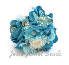Fabric Flowers with Jesse James Beads!!! www.jessejamesbeads.com