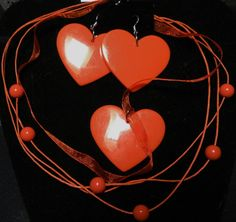 Orange Hearts Necklace and Earrings by AuntCharliMadeIt on Etsy, $12.50