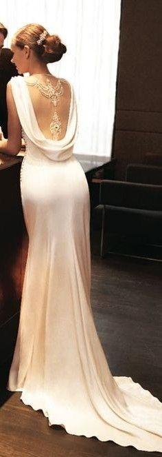 Trendy Wedding Dresses Elegant Classy Open Backs Dresses Elegant, Elegant Wedding Dress, Pretty Dresses, Silky Wedding Dress, Vintage Wedding Dresses, Cowl Back Wedding Dress, Wedding Attire, Wedding Gowns, Wedding Lace