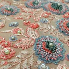 Trendy Ideas For Embroidery Techniques Embellishments Tambour Beading Zardosi Embroidery, Pearl Embroidery, Tambour Embroidery, Hand Work Embroidery, Couture Embroidery, Types Of Embroidery, Hand Embroidery Designs, Beaded Embroidery, Tambour Beading
