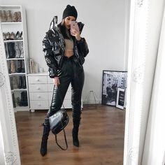 Vinyl jacket, backpack, heels from 🖤 Aesthetic Look, Capsule Wardrobe, All Black, Womens Fashion, Fashion Trends, Fashion Bloggers, Winter Outfits, Winter Fashion, Leather Pants